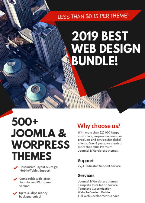 Joomla! & Wordpress 500+ themes bundle!