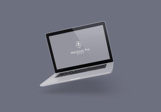 free floating macbook pro mockup