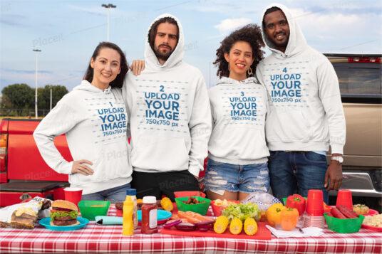 free group wearing hoodies mockup