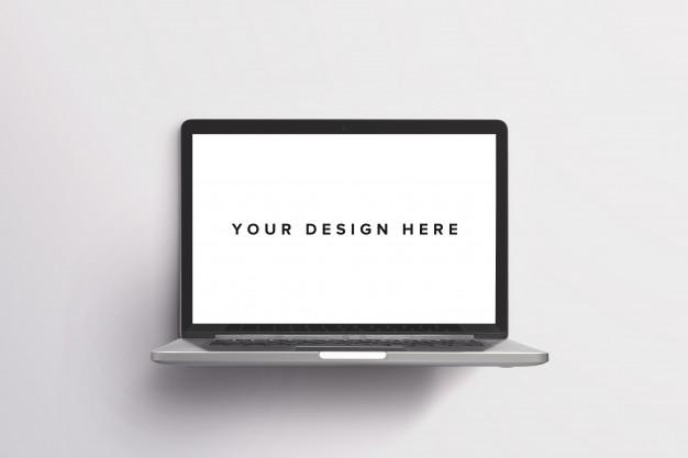 free laptop on white mockup