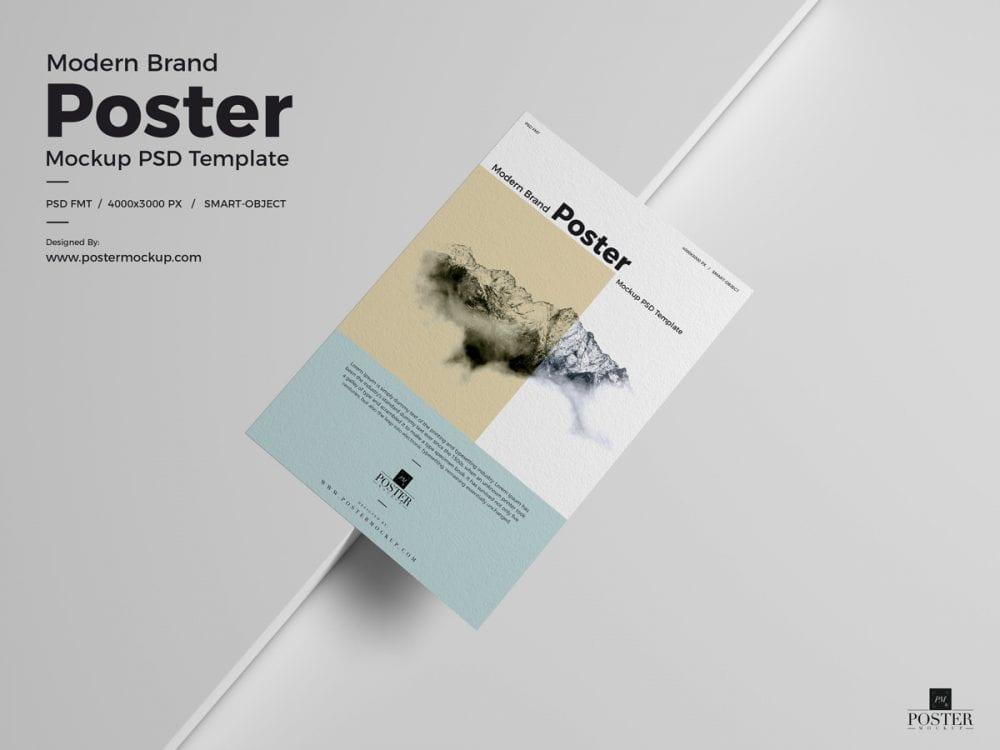 free modern brand textured paper poster mockup