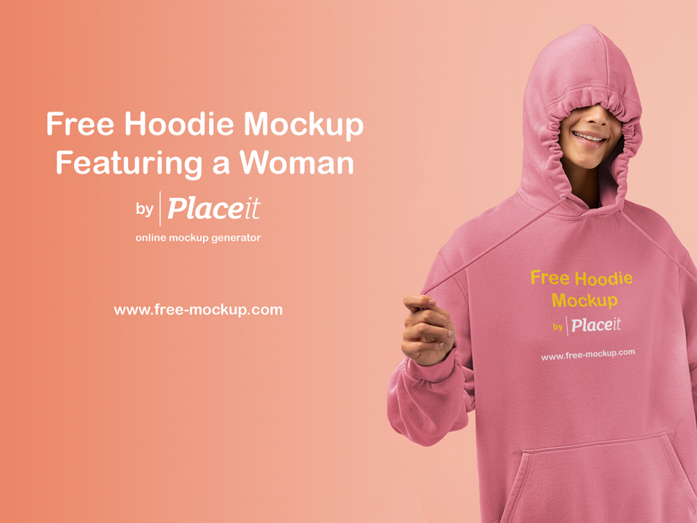 free hoodie featuring a woman mockup