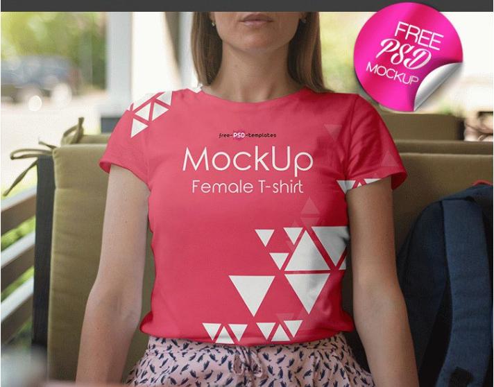 female t-shirt mockUp psd template