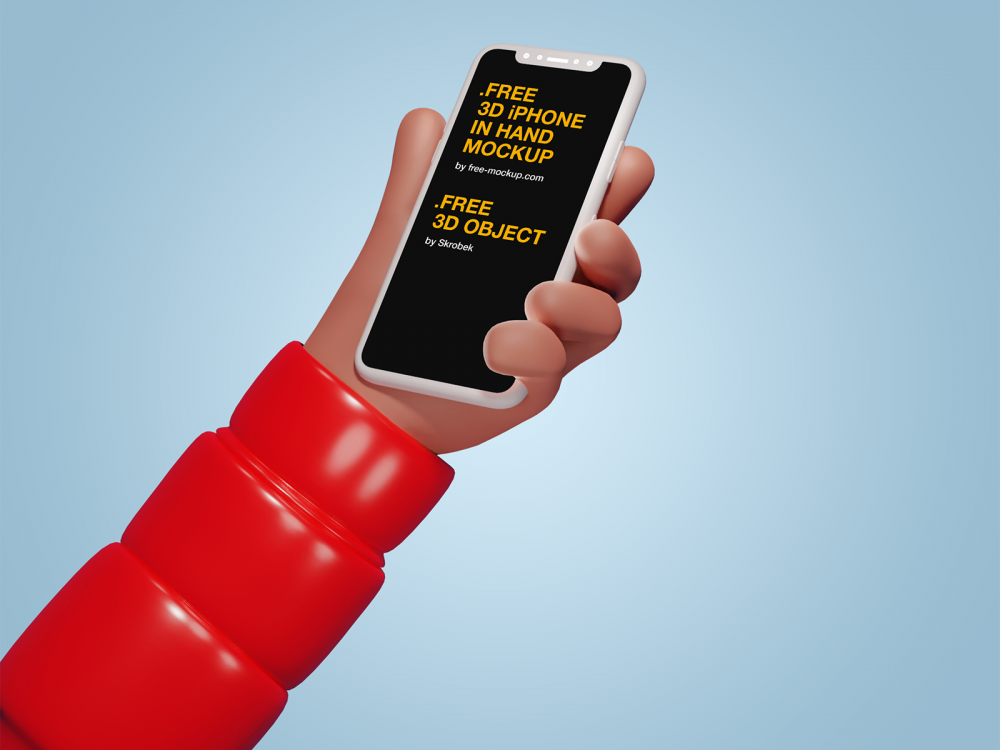 free 3d iphone in hand mockup