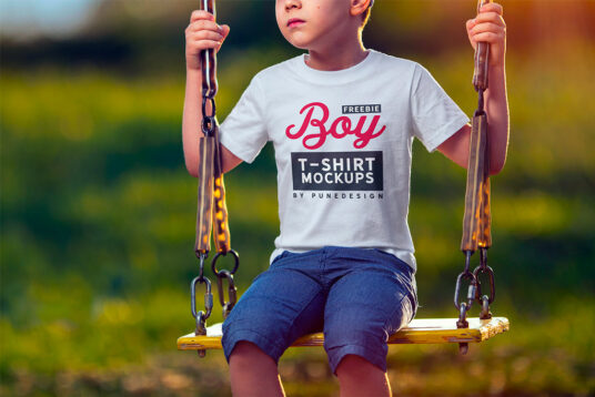 free boy wearing t-shirt mockup