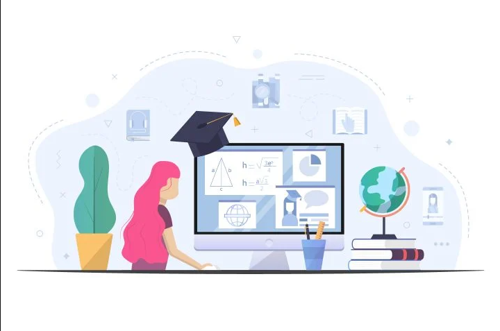 free children study on computer at home vector illustration mockup