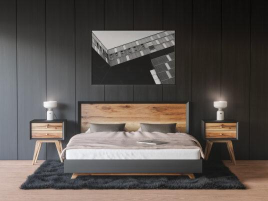 free framed poster on bedroom wall mockup