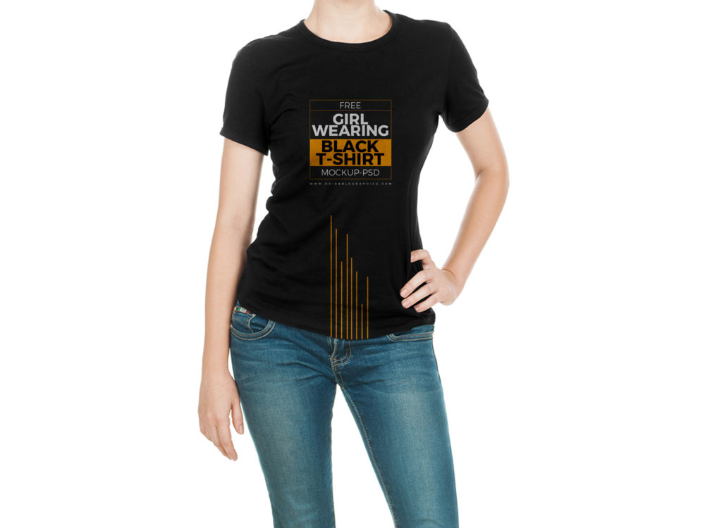 free girl wearing black t-shirt mock-up