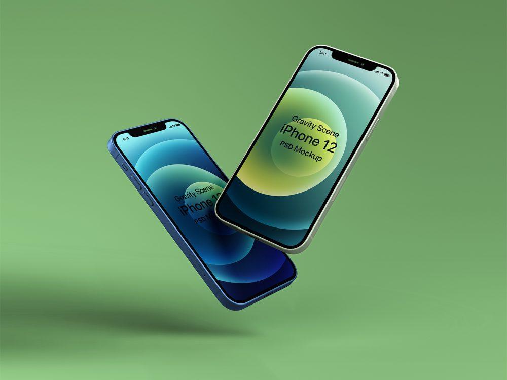 free gravity iphone 12 set mockup