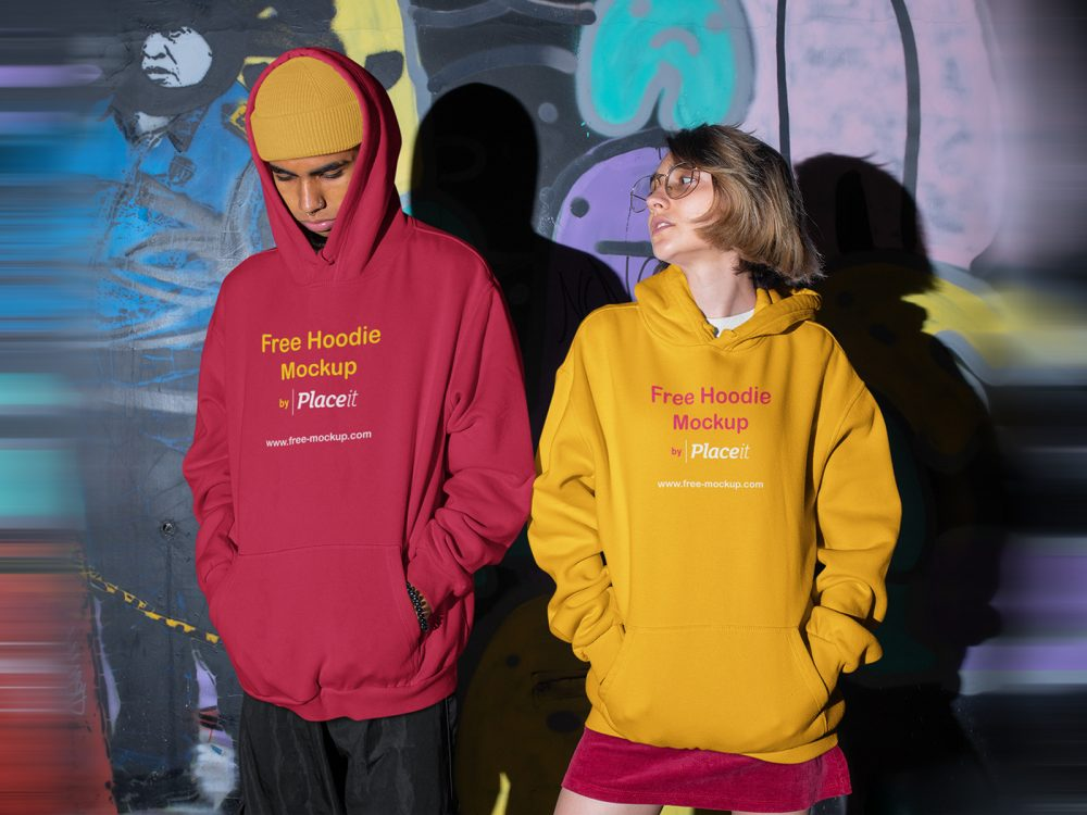 free hoodie placeit of a man and a woman mockup