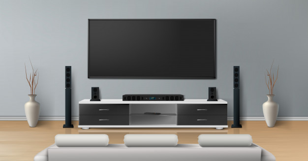 free realistic tv of living room mockup