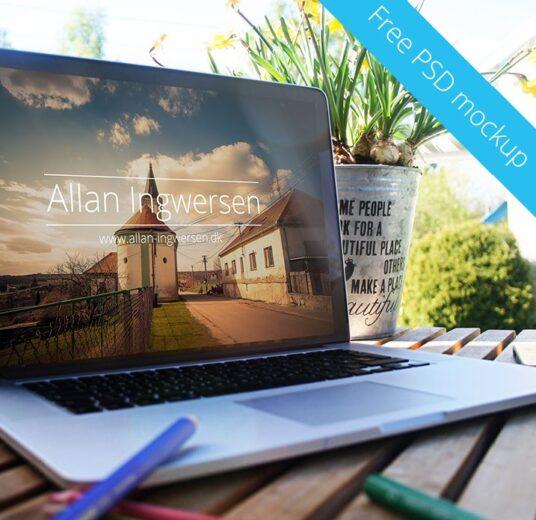free set of macbooks in summer surroundings mockup