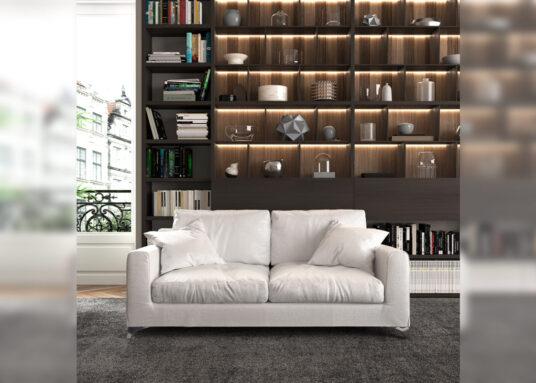 free sofa in living room mockup