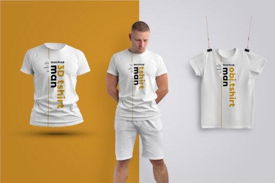 free three men's t-shirts mockup
