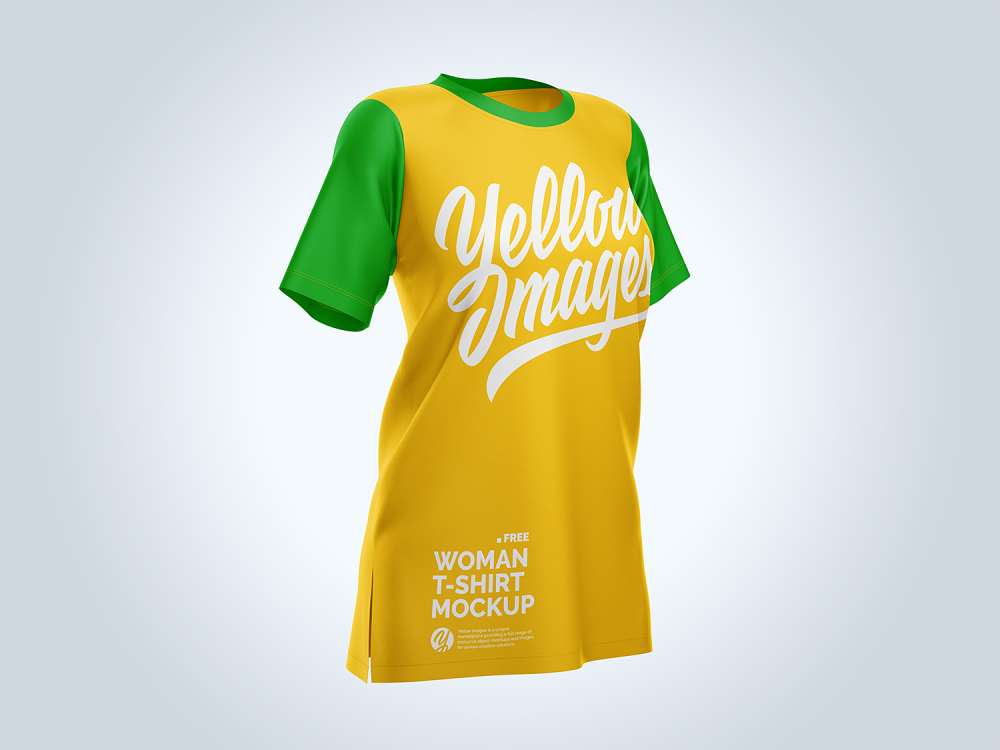 free women's baggy t-shirt half-side mockup