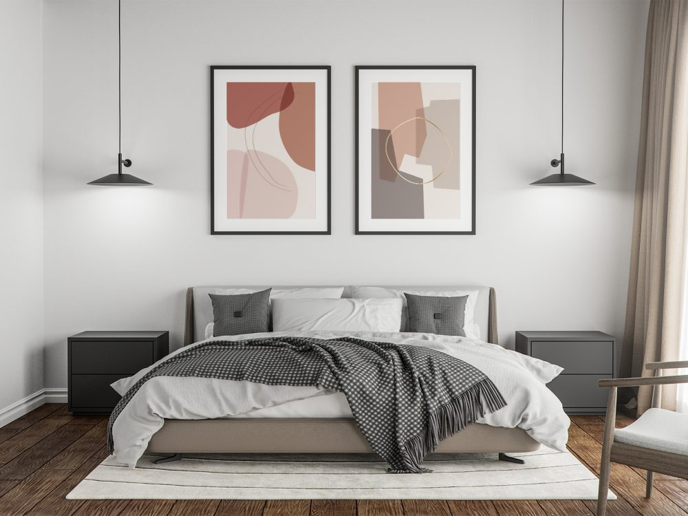 free poster in the master bedroom mockup