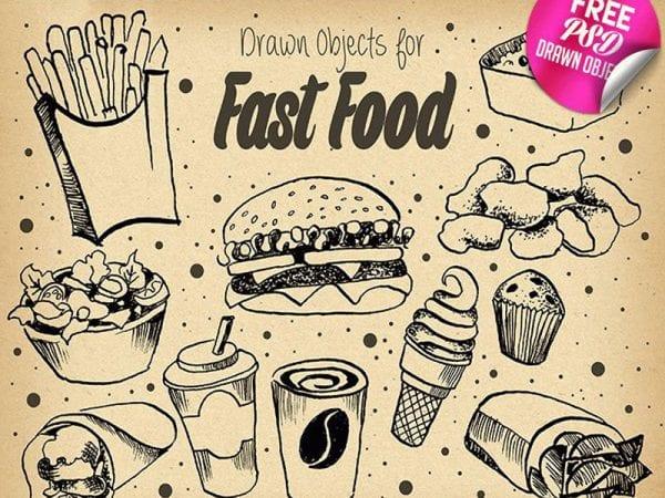 FAST FOOD ILLUSTRATION Free Mockup