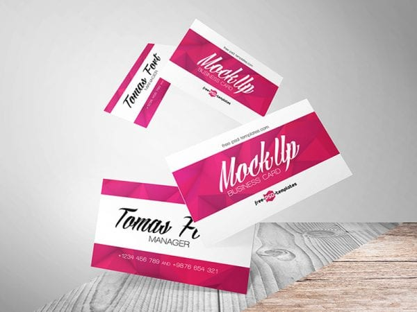 FLYING BUSINESS CARDS Free Mockup