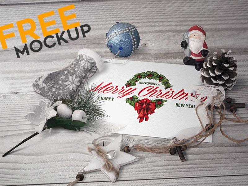 Postcard in Christmas Scenery Free Mockup