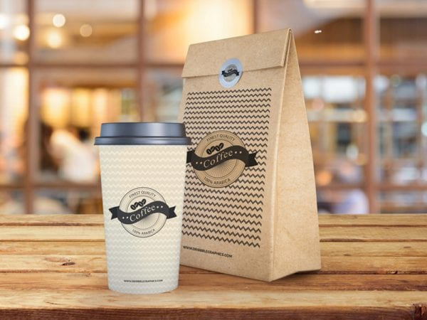 Coffee Cup With Paper Bag Packaging Free Mockup