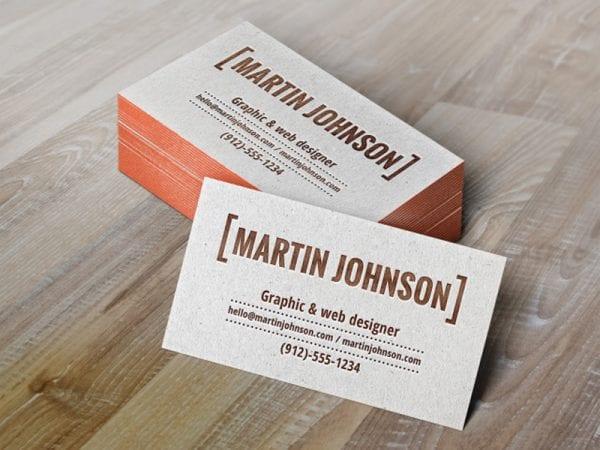 Letterpress Business Cards Free Mockup