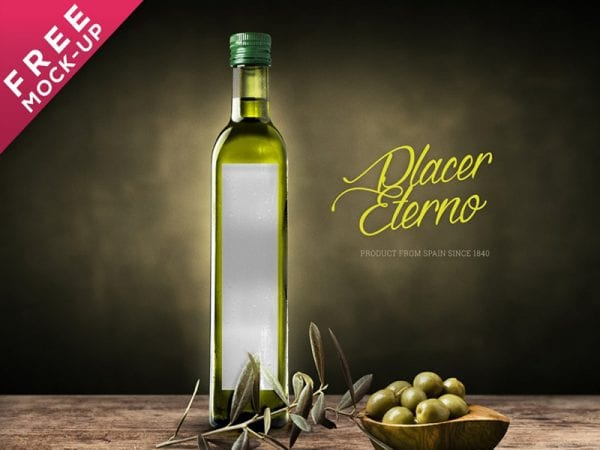 Olive Oil & Vinegar Bottle Label Free Mockup