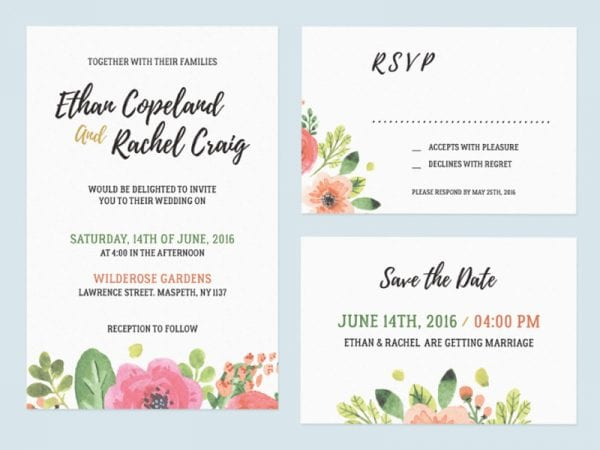 Wedding Invitation Set Free Mockup