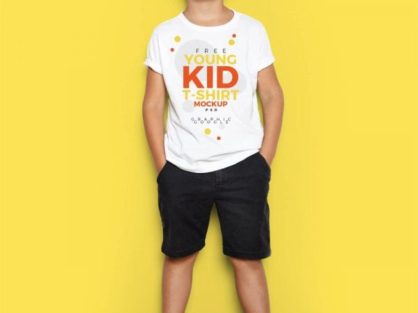 Young Kid T-Shirt Free Mockup