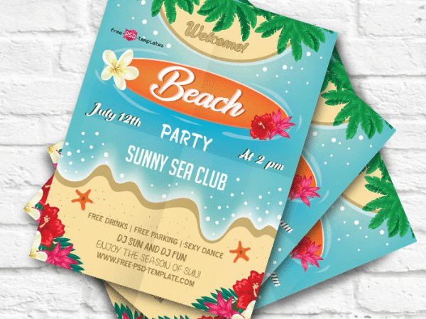 Beach Party Flyer PSD MockUp Template