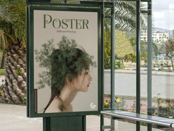 Bus Stop Billboard Poster Mockup PSD Template