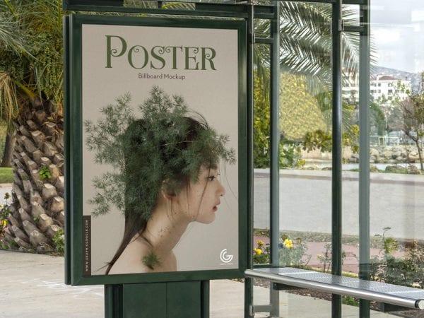 Bus Stop Billboard Poster Mockup PSD Template