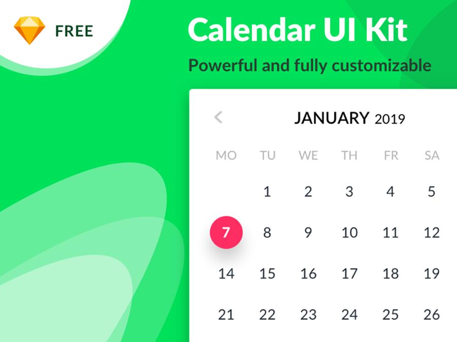 Calendar Sketch Free UI Kit - Mockup Free Downloads