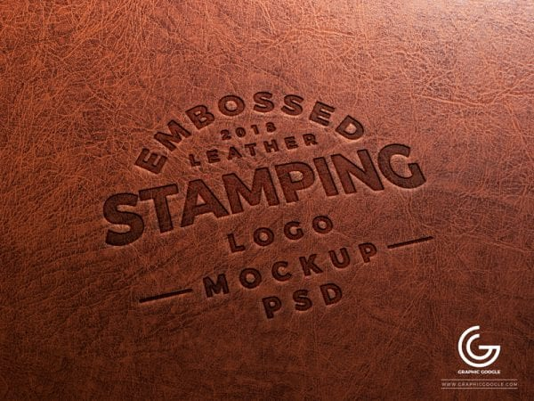 Embossed Leather Logo Stamp PSD MockUp