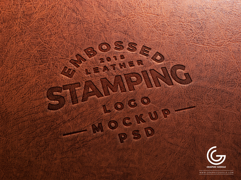 Embossed Leather Logo Stamp PSD MockUp