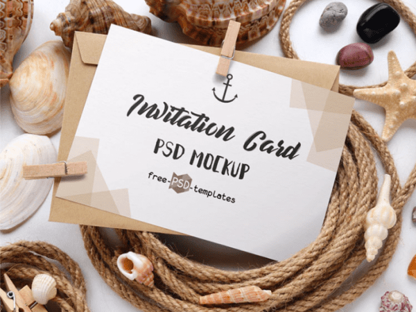 Free Invitation Card PSD Mockup