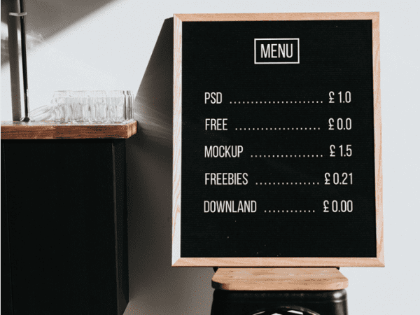 Free Menu Board Mockup PSD Template