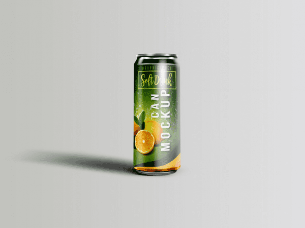 Free Soft Drink Can Mockup In PSD