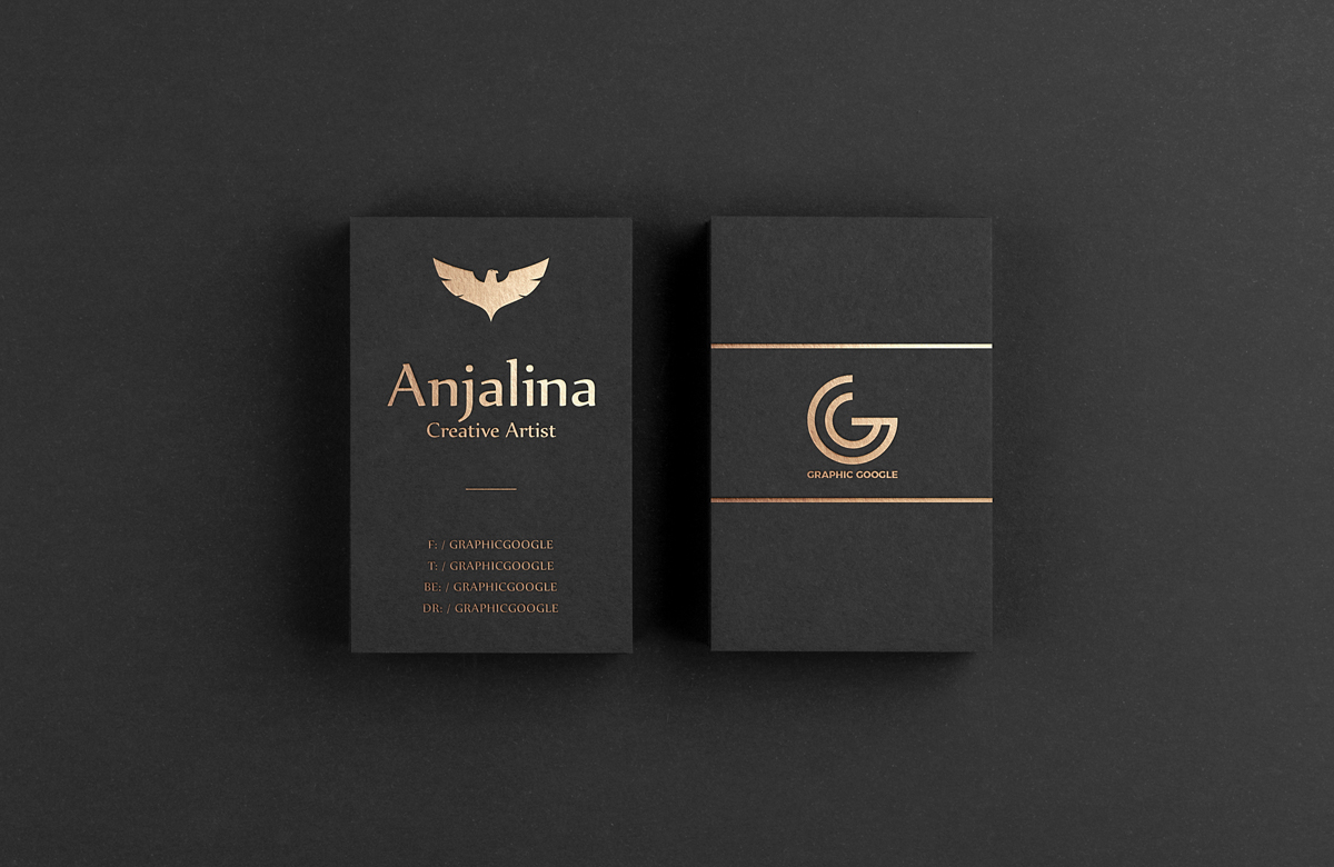 gold foil business card mockup psd template