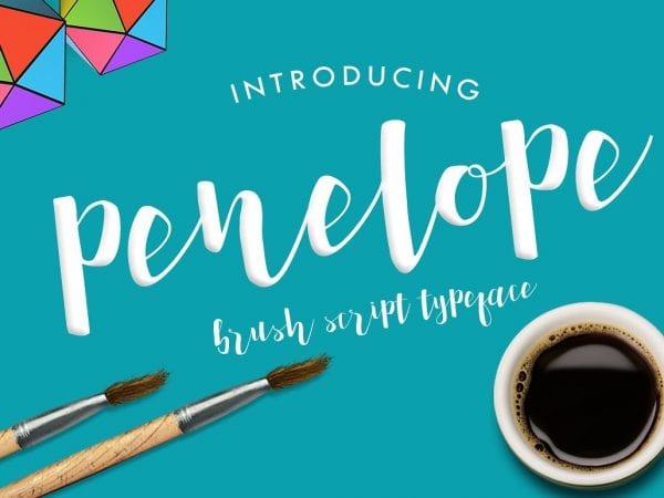 Penelope Modern Brush Script Font