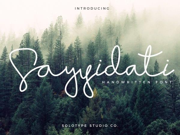 Sayyidati Hand drawn Script Fonts