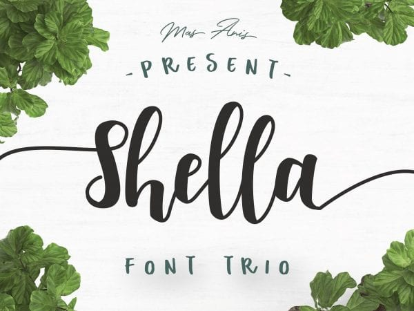 Meet Shella - a fun and warm Free Hand Brush Font designed by Mas Anis. The font combines with the Shella sans or Shella rough font to make each word unique.