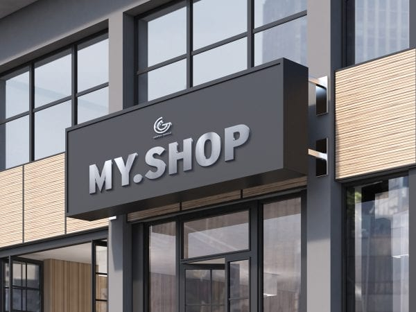 Shop Facade MockUp In PSD