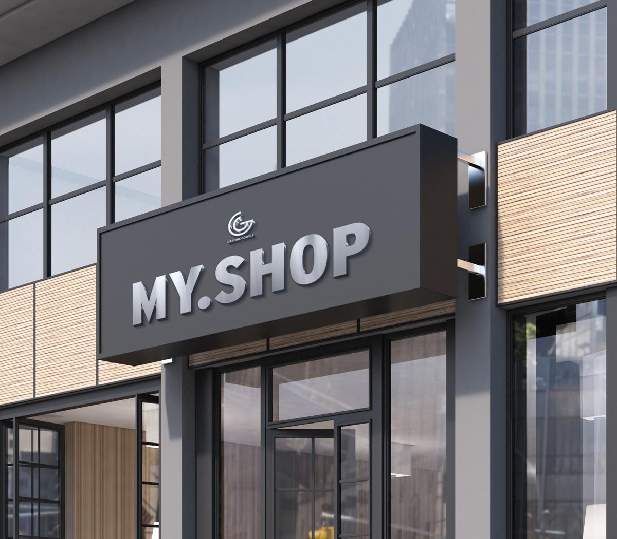 shop facade mockup in psd