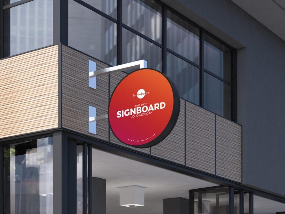 Shop Sign Board Logo Free PSD Mockup