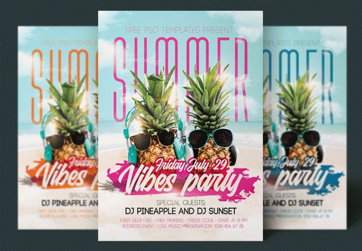 Summer Vibes Party Flyer Mockup PSD Template