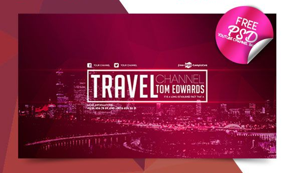 Travel Youtube Channel Banner PSD Template