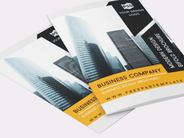 Business Company Bifold Brochure PSD Template