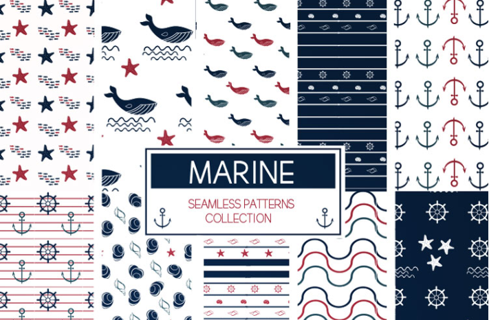 Collection Of Marine Seamless Patterns