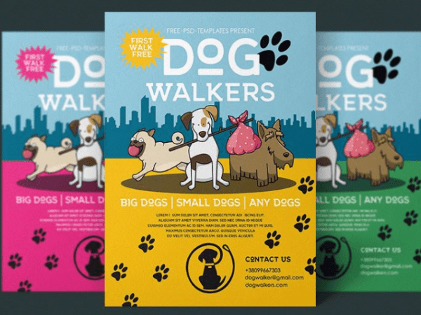 Dog Walkers Flyer MockUp PSD Template