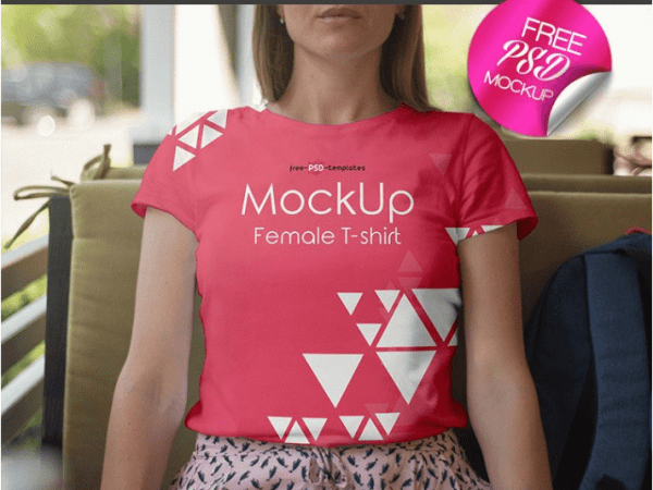Female T shirt MockUp PSD Template 2